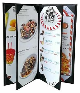 3 Pcs Of Restaurant Menu Covers Holders 4 75 X 11 Inches 4panel 6view sold