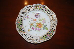 Carl Thieme Saxonia Hp Dresden Flowers Scalloped Reticulated Cabinet Plate 2