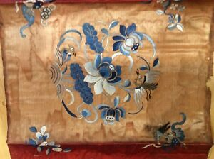 Chinese Forbidden Stitch Textile Silk Panel Embroidery Old