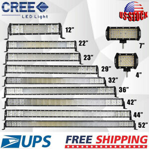 7 9 15 17 20 30 42 44 52 Inch Straight Led Work Light Bar Amber White Us