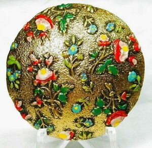 X Large Antique Button Hand Painted Brass Enamel Colorful Roses