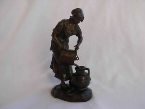 E Carler Antique French Bronze Figure Signed Late 19th Century