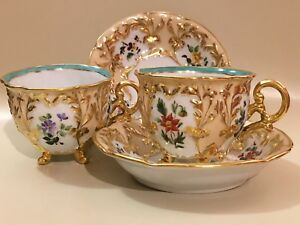 Set Of 2 Antique Old Paris Ed Honore Porcelain Pre 1840 Cup And Saucer France