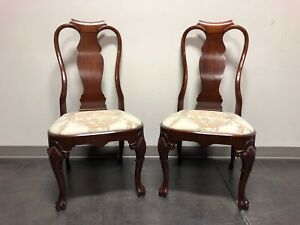 Solid Mahogany Queen Anne Dining Side Chairs Pair 1