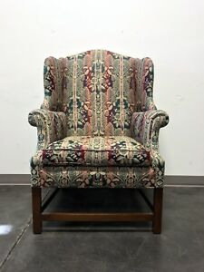 Mahogany Chippendale Straight Leg Wing Back Chair With Stretcher Base
