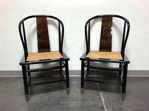 Henredon Asian Chinoiserie Black Lacquer Cane Seat Dining Chairs Pair