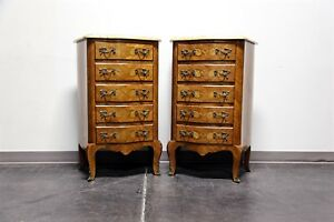 French Louis Xv Style Inlaid Kingwood Marble Top Lingerie Chests Pair