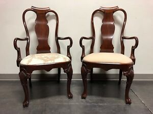 Solid Mahogany Queen Anne Dining Captain S Arm Chairs Pair