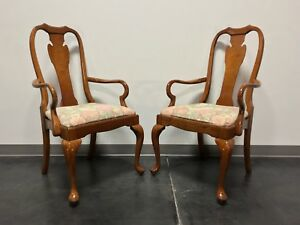 Harden Solid Cherry Queen Anne Dining Arm Chairs In Champagne Finish Pair
