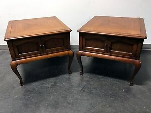 Vintage French Style Mahogany End Tables With Ormolu