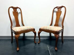 Harden Solid Cherry Queen Anne Dining Side Chairs Champagne Finish Pair 2