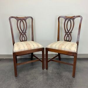 Bevan Funnell Reprodux Mahogany Georgian Straight Leg Side Chairs Pair 1