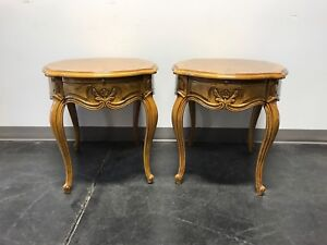 Thomasville French Court Burl Oak Oval End Side Tables Pair