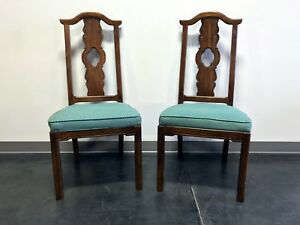 Thomasville Mystique Asian Chinoiserie Dining Side Chairs Pair 2