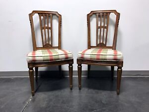 Henredon Mid Century Italian Provincial Neoclassical Dining Side Chairs Pair
