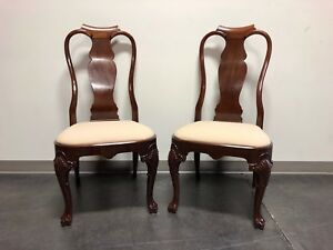 Solid Mahogany Queen Anne Dining Side Chairs Pair 2