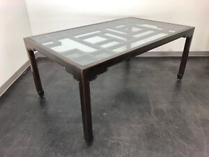 Thomasville Asian Chinoiserie Style Rectangular Glass Top Dining Table
