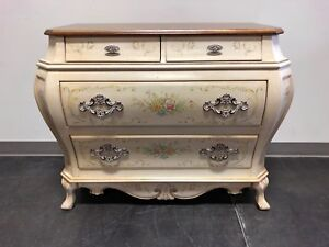 French Provincial Louis Xv Style Painted Bombe Chest By Pulaski