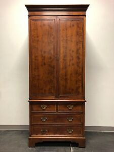 Vintage Chippendale Yew Wood Armoire Secretary Linen Press 1