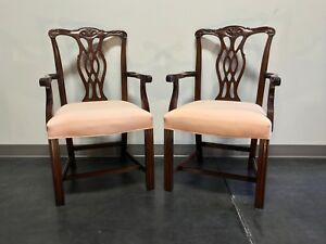 Fancher Solid Mahogany Chippendale Straight Leg Dining Captain S Arm Chairs Pair