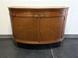 Vintage Inlaid Walnut Sheraton Style Marble Top Buffet Sideboard Console Cabinet