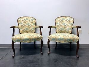 Vintage French Provincial Louis Xv Style Fauteuils Open Arm Chairs Pair