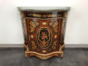 Italianate Brass Ormolu Mounted Hand Painted Marble Top Commode Console Cabinet