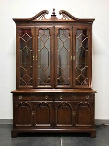 Thomasville Cherry Chippendale Style China Display Cabinet