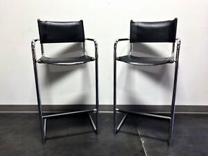 Mart Stam Chrome Black Leather Bar Stools Made In Italy