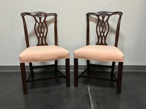 Fancher Solid Mahogany Chippendale Straight Leg Dining Side Chairs Pair 2
