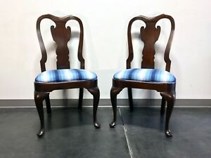Statton Old Towne Solid Cherry Queen Anne Dining Side Chairs Pair 1