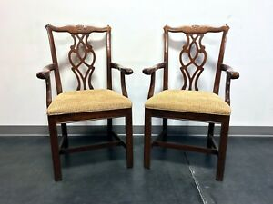 Chippendale Straight Leg Solid Cherry Dining Captain S Armchairs By Cresent Pair