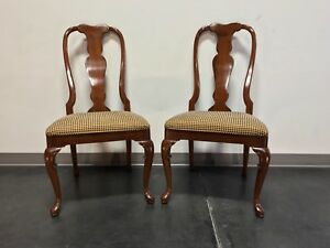 Solid Cherry Queen Anne Dining Side Chairs By Fancher Pair 2