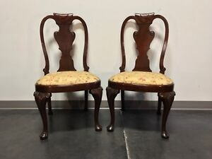Carved Mahogany Queen Anne Style Dining Side Chairs Pair
