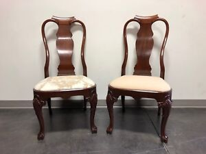 Solid Mahogany Queen Anne Dining Side Chairs Pair 3