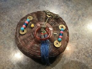 Vintage Antique Chinese Wicker Sewing Basket W Beads Coins