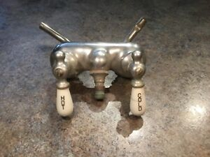 Vtg Claw Foot Bath Tub Faucet Porcelain Hot Cold Brass Handles Fixture
