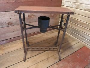 Vintage Antique Rare Bench Wire Chair Twisted Iron Legs Wood Seat Vanity Bench