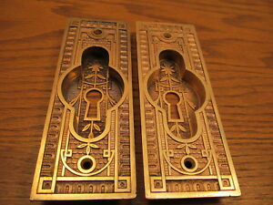 Pair Brass Bronze Pocket Door Pulls Escutcheons Nice Thick Brass Ornate