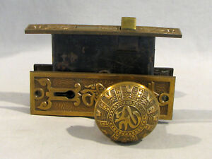 Antique Victorian Arabic Brass Door Lock Set