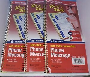 3 X Adams Write n Stick Phone Message Pad 2 3 4 X 4 3 4 Two part Carbonless 200