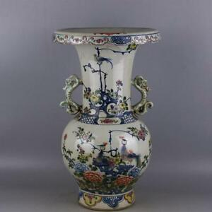 Chinese Old Blue And White Doucai Colored Flower And Bird Pattern Porcelain Vase