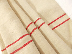 Vtg Antique Double Red Stripe European Hemp Linen Fabric Feed Sack Grain Bag 55