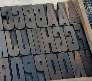 Letterpress Wood Printing Blocks 64 Pieces 4 25 Tall Alphabet Type Woodtype Abc