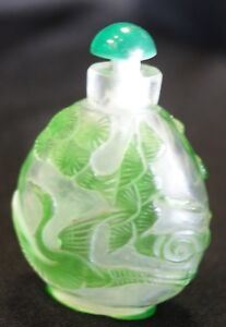 Antique Chinese Three Crane Carved Peking Overlay Glass Snuff Bottle Nr