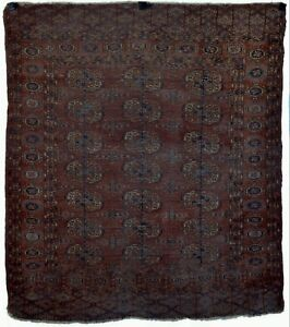 Rare Antique Tekke Khali Turkmen Dowry Wedding Rug 19th Century N14