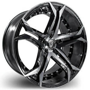 4 set 20 Staggered Marquee Wheels M3284 Black Machined Rimsfs