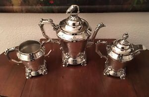 Rare Antique Webster Mfg Co Silver Plate Figural Tea Coffee Set 1860 70 S