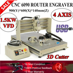 Cnc 6090 4 Axis Router Metal Wood Engraving Machine 3d Carver 1 5kw Usb Vfd Ups