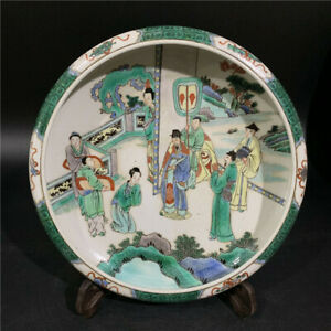 Huge Chinese Antique Wu Cai Color Character Story Porcelain Brush Washer Mark